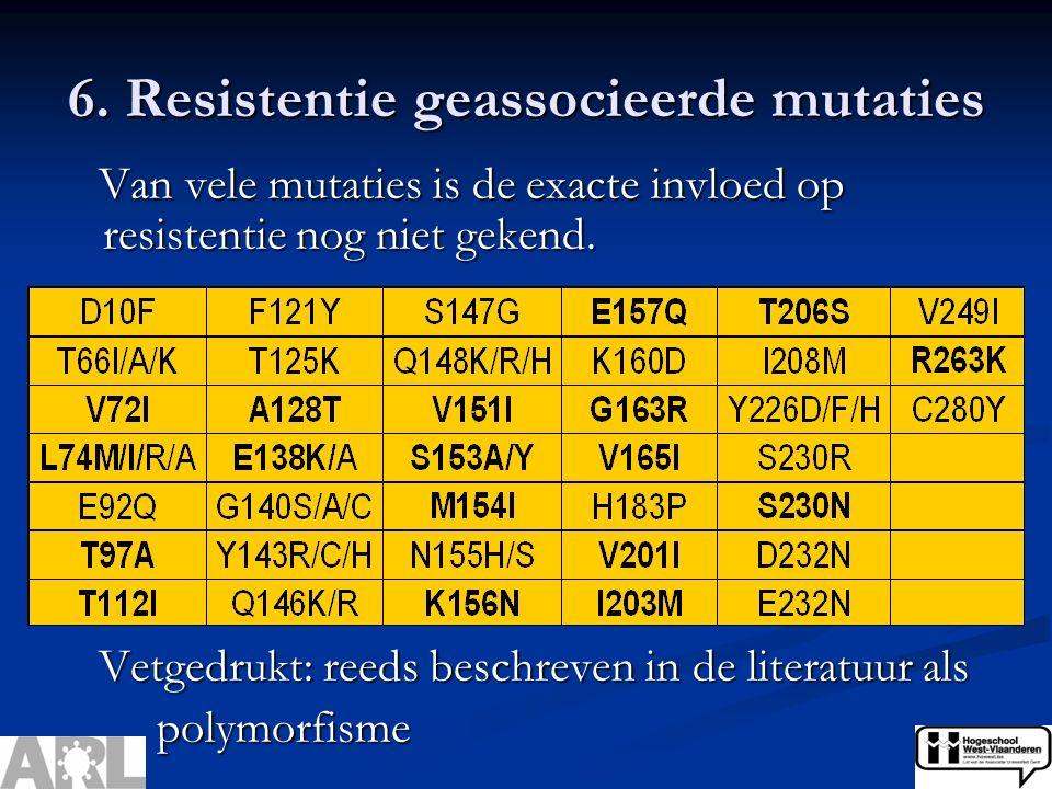6. Resistentie geassocieerde mutaties Van vele mutaties is de exacte invloed op resistentie nog niet gekend. Van vele mutaties is de exacte invloed op