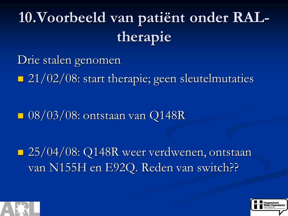 Drie stalen genomen 21/02/08: start therapie; geen sleutelmutaties 21/02/08: start therapie; geen sleutelmutaties 08/03/08: ontstaan van Q148R 08/03/08: ontstaan van Q148R 25/04/08: Q148R weer verdwenen, ontstaan van N155H en E92Q.