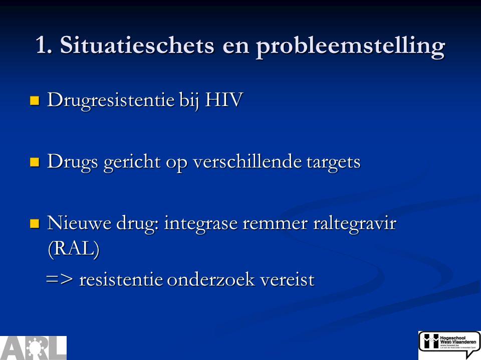 1. Situatieschets en probleemstelling Drugresistentie bij HIV Drugresistentie bij HIV Drugs gericht op verschillende targets Drugs gericht op verschil