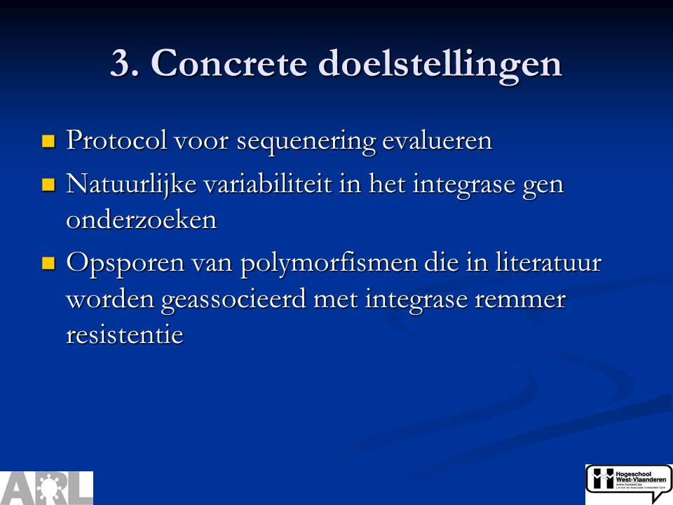 3. Concrete doelstellingen Protocol voor sequenering evalueren Protocol voor sequenering evalueren Natuurlijke variabiliteit in het integrase gen onde