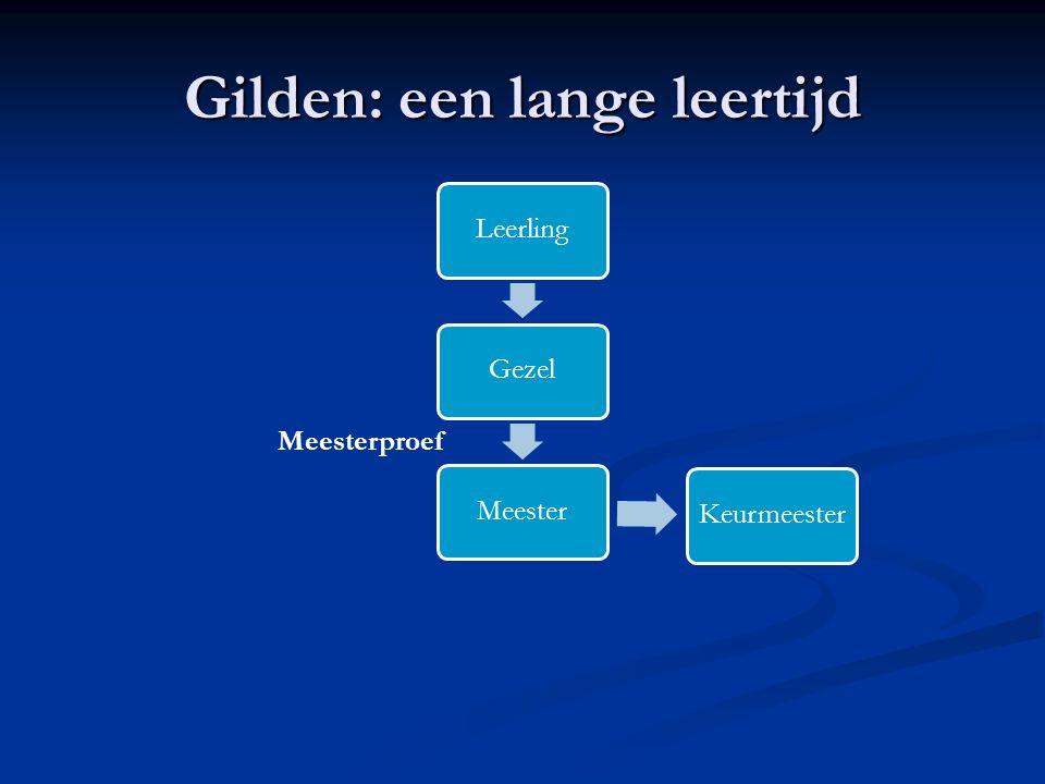 Gilden: een lange leertijd LeerlingGezelMeesterKeurmeester Meesterproef