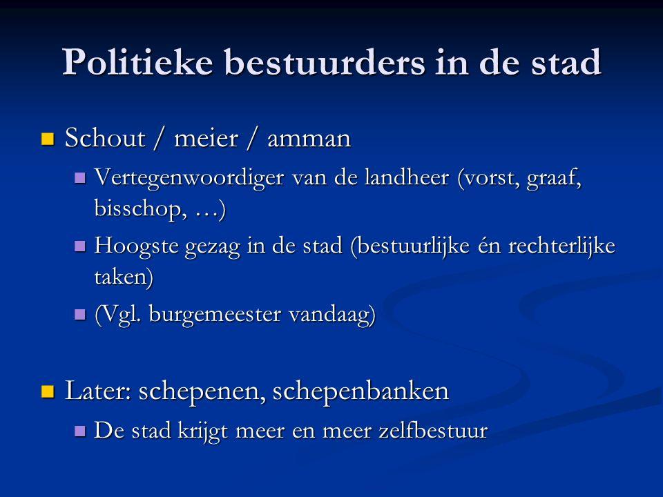 Politieke bestuurders in de stad Schout / meier / amman Schout / meier / amman Vertegenwoordiger van de landheer (vorst, graaf, bisschop, …) Vertegenw