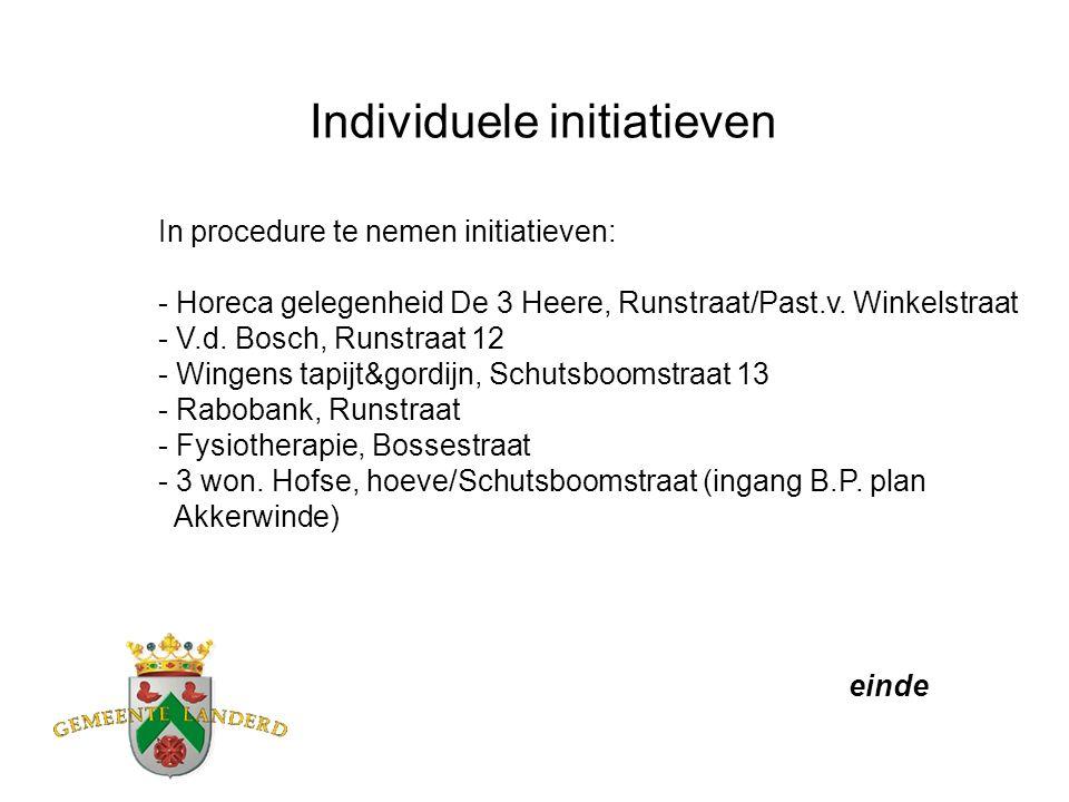 Individuele initiatieven In procedure te nemen initiatieven: - Horeca gelegenheid De 3 Heere, Runstraat/Past.v.