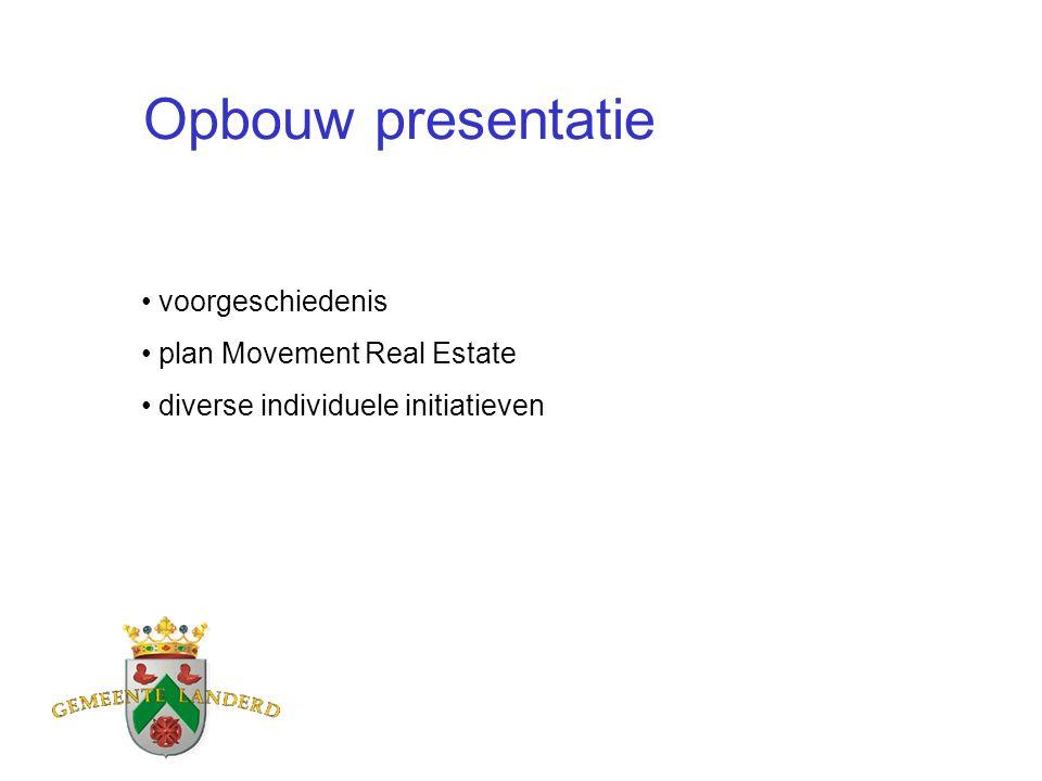 Opbouw presentatie voorgeschiedenis plan Movement Real Estate diverse individuele initiatieven