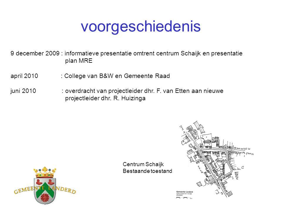 voorgeschiedenis 9 december 2009 : informatieve presentatie omtrent centrum Schaijk en presentatie plan MRE april 2010 : College van B&W en Gemeente R