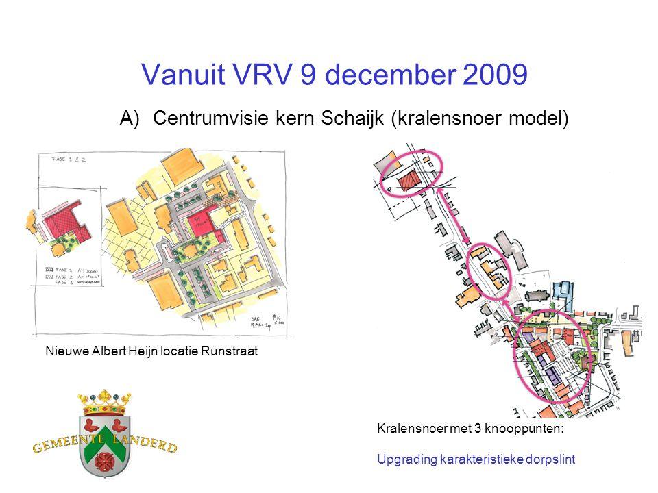 Vanuit VRV 9 december 2009 A)Centrumvisie kern Schaijk (kralensnoer model) Nieuwe Albert Heijn locatie Runstraat Kralensnoer met 3 knooppunten: Upgrad