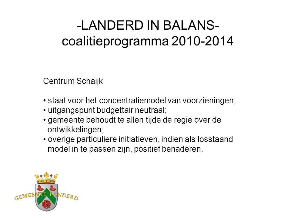 -LANDERD IN BALANS- coalitieprogramma 2010-2014 Centrum Schaijk staat voor het concentratiemodel van voorzieningen; uitgangspunt budgettair neutraal;