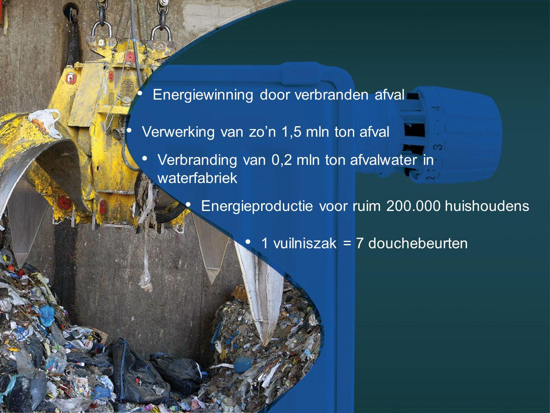 Energiewinning door verbranden afval Verwerking van zo'n 1,5 mln ton afval Energieproductie voor ruim 200.000 huishoudens Verbranding van 0,2 mln ton afvalwater in waterfabriek 1 vuilniszak = 7 douchebeurten