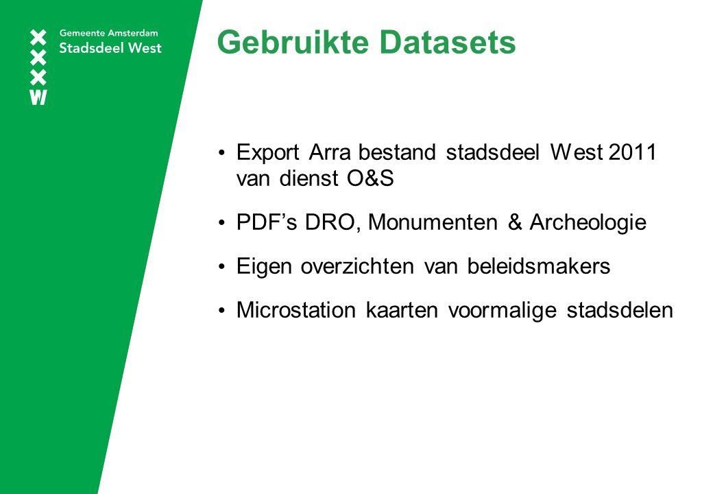 Gebruikte Datasets Export Arra bestand stadsdeel West 2011 van dienst O&S PDF's DRO, Monumenten & Archeologie Eigen overzichten van beleidsmakers Microstation kaarten voormalige stadsdelen