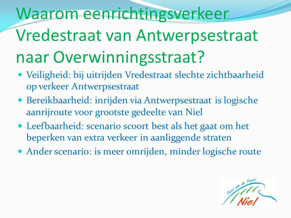 Waarom eenrichtingsverkeer Vredestraat van Antwerpsestraat naar Overwinningsstraat.