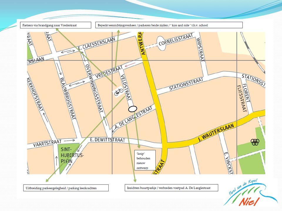 Parkeerplaatsen Veldstraat Nu: 15 op rijbaan en 12 dwars Na werken: 15 op rijbaan 27 dwars