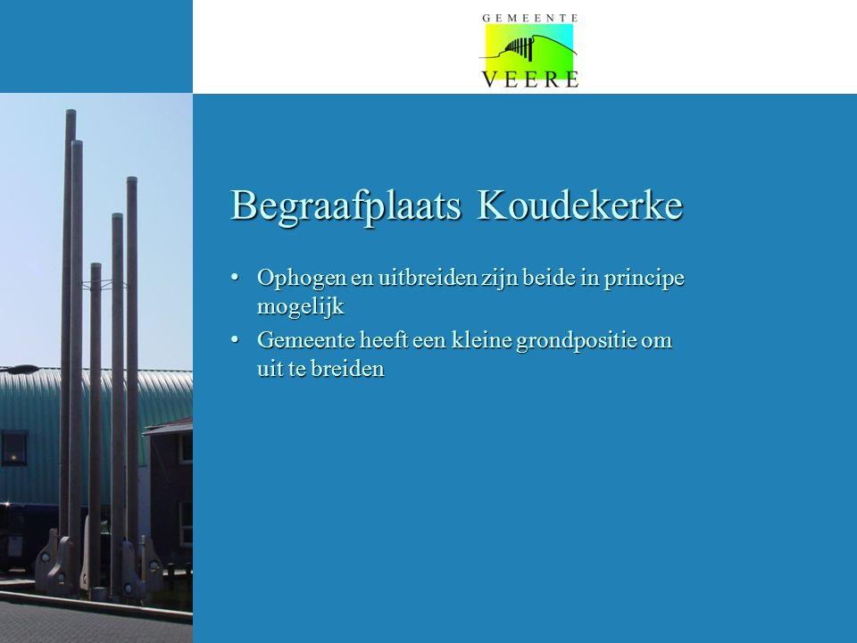 Begraafplaats Koudekerke Ophogen en uitbreiden zijn beide in principe mogelijk Ophogen en uitbreiden zijn beide in principe mogelijk Gemeente heeft een kleine grondpositie om uit te breiden Gemeente heeft een kleine grondpositie om uit te breiden