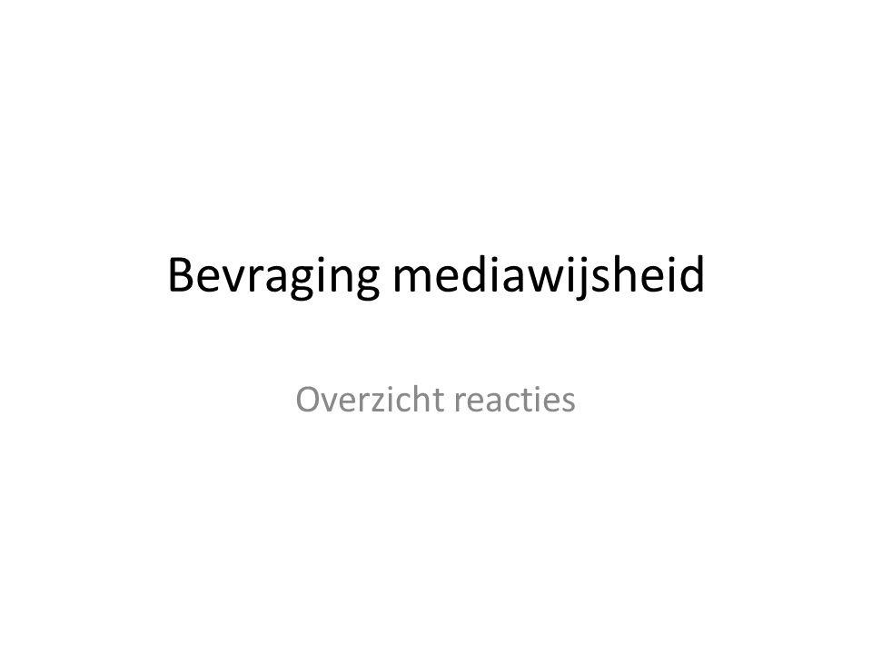 Bevraging mediawijsheid Overzicht reacties