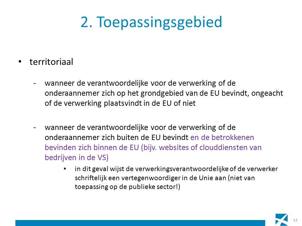 2. Toepassingsgebied territoriaal -wanneer de verantwoordelijke voor de verwerking of de onderaannemer zich op het grondgebied van de EU bevindt, onge
