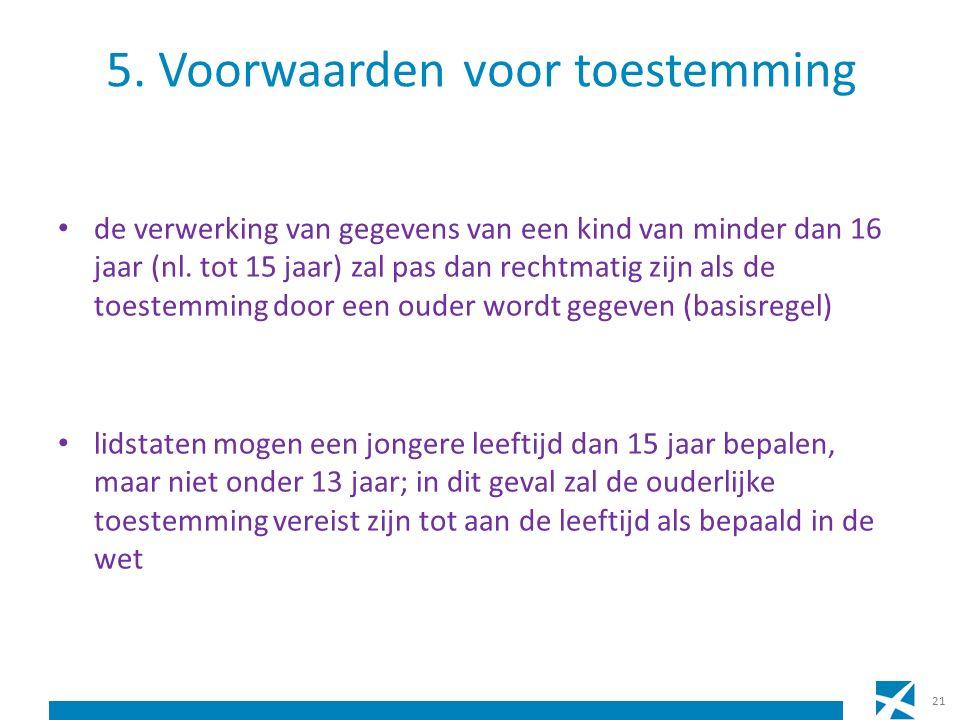 5. Voorwaarden voor toestemming de verwerking van gegevens van een kind van minder dan 16 jaar (nl.