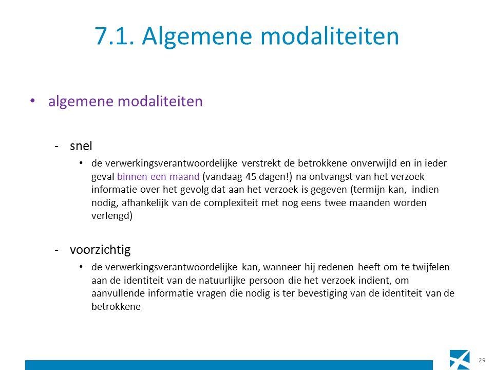 7.1. Algemene modaliteiten algemene modaliteiten -snel de verwerkingsverantwoordelijke verstrekt de betrokkene onverwijld en in ieder geval binnen een