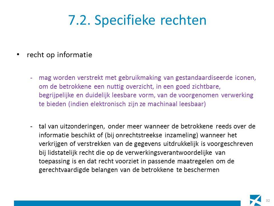 7.2. Specifieke rechten recht op informatie -mag worden verstrekt met gebruikmaking van gestandaardiseerde iconen, om de betrokkene een nuttig overzic