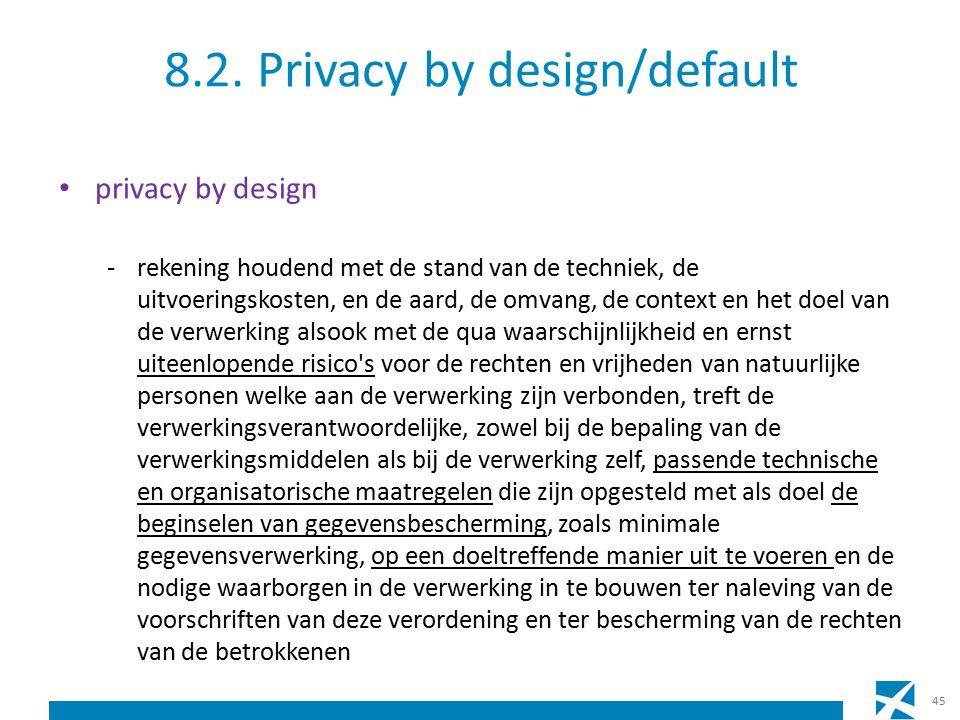 8.2. Privacy by design/default privacy by design -rekening houdend met de stand van de techniek, de uitvoeringskosten, en de aard, de omvang, de conte