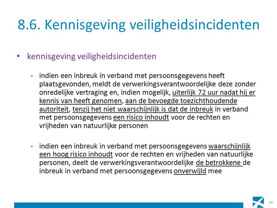 8.6. Kennisgeving veiligheidsincidenten kennisgeving veiligheidsincidenten -indien een inbreuk in verband met persoonsgegevens heeft plaatsgevonden, m