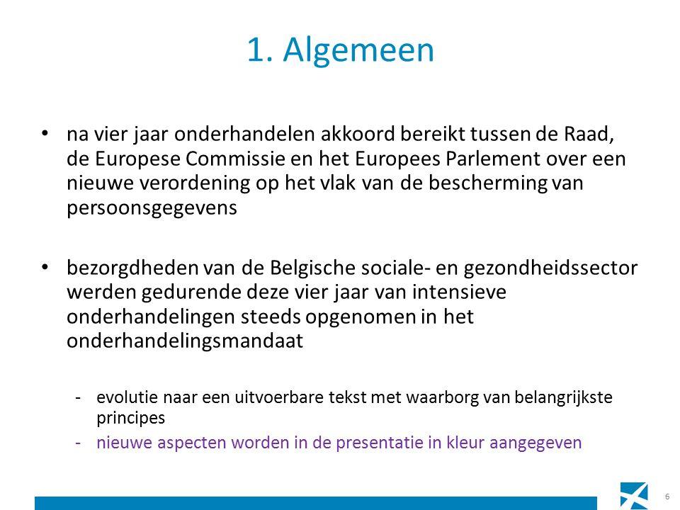 na vier jaar onderhandelen akkoord bereikt tussen de Raad, de Europese Commissie en het Europees Parlement over een nieuwe verordening op het vlak van de bescherming van persoonsgegevens bezorgdheden van de Belgische sociale- en gezondheidssector werden gedurende deze vier jaar van intensieve onderhandelingen steeds opgenomen in het onderhandelingsmandaat -evolutie naar een uitvoerbare tekst met waarborg van belangrijkste principes -nieuwe aspecten worden in de presentatie in kleur aangegeven 6