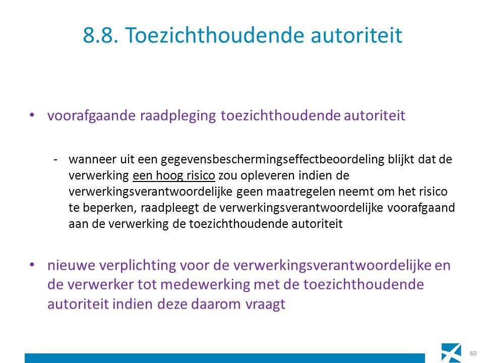 8.8. Toezichthoudende autoriteit voorafgaande raadpleging toezichthoudende autoriteit -wanneer uit een gegevensbeschermingseffectbeoordeling blijkt da