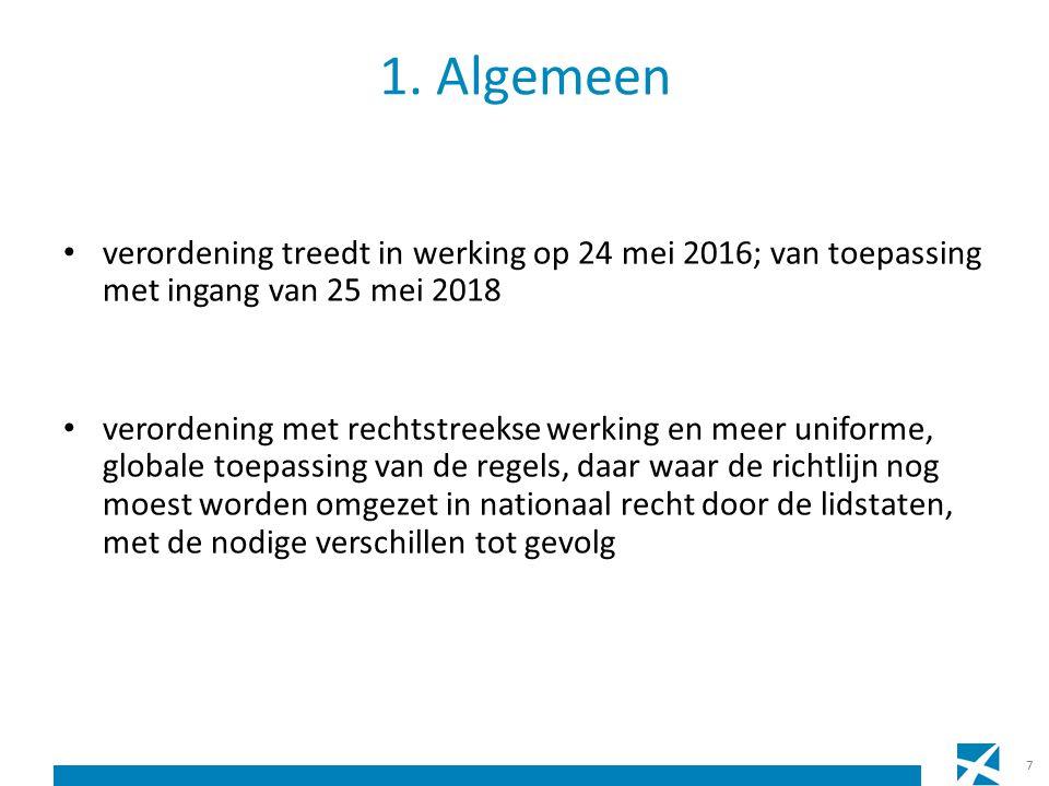 1. Algemeen verordening treedt in werking op 24 mei 2016; van toepassing met ingang van 25 mei 2018 verordening met rechtstreekse werking en meer unif