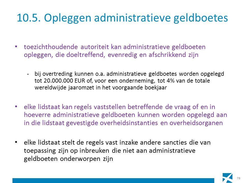 10.5. Opleggen administratieve geldboetes toezichthoudende autoriteit kan administratieve geldboeten opleggen, die doeltreffend, evenredig en afschrik