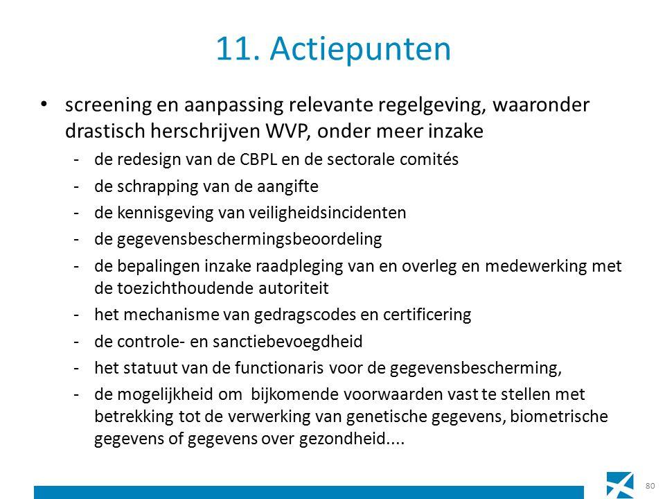 11. Actiepunten screening en aanpassing relevante regelgeving, waaronder drastisch herschrijven WVP, onder meer inzake -de redesign van de CBPL en de
