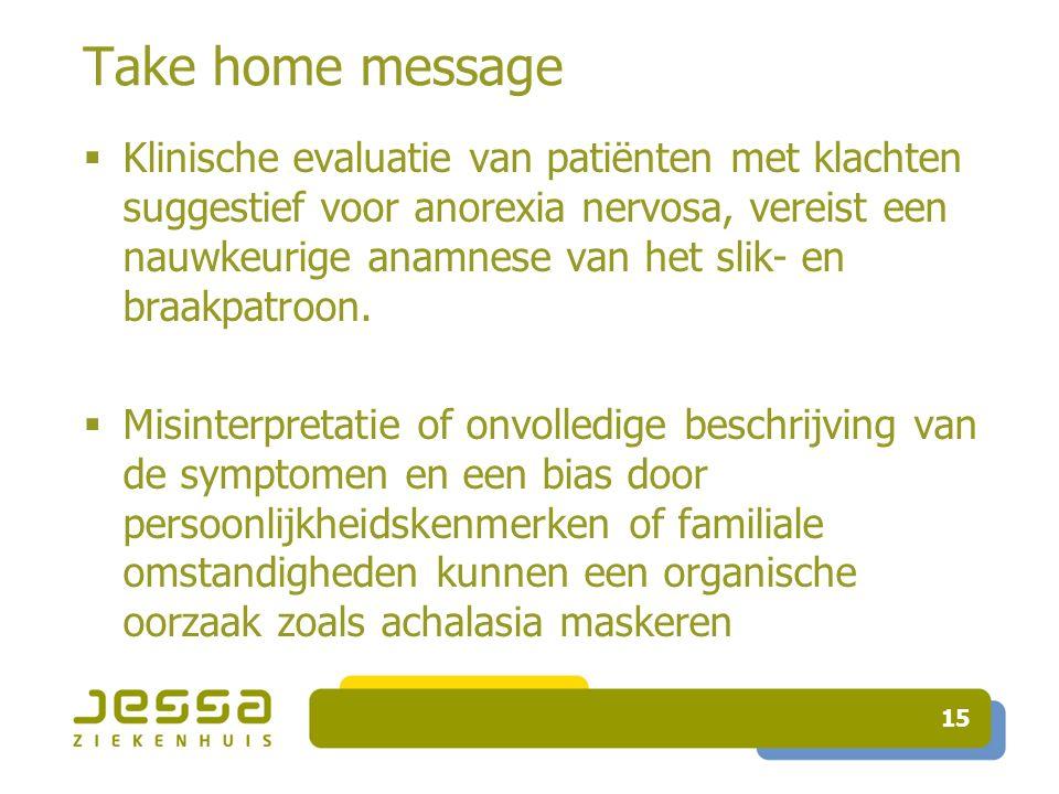 Take home message  Klinische evaluatie van patiënten met klachten suggestief voor anorexia nervosa, vereist een nauwkeurige anamnese van het slik- en braakpatroon.