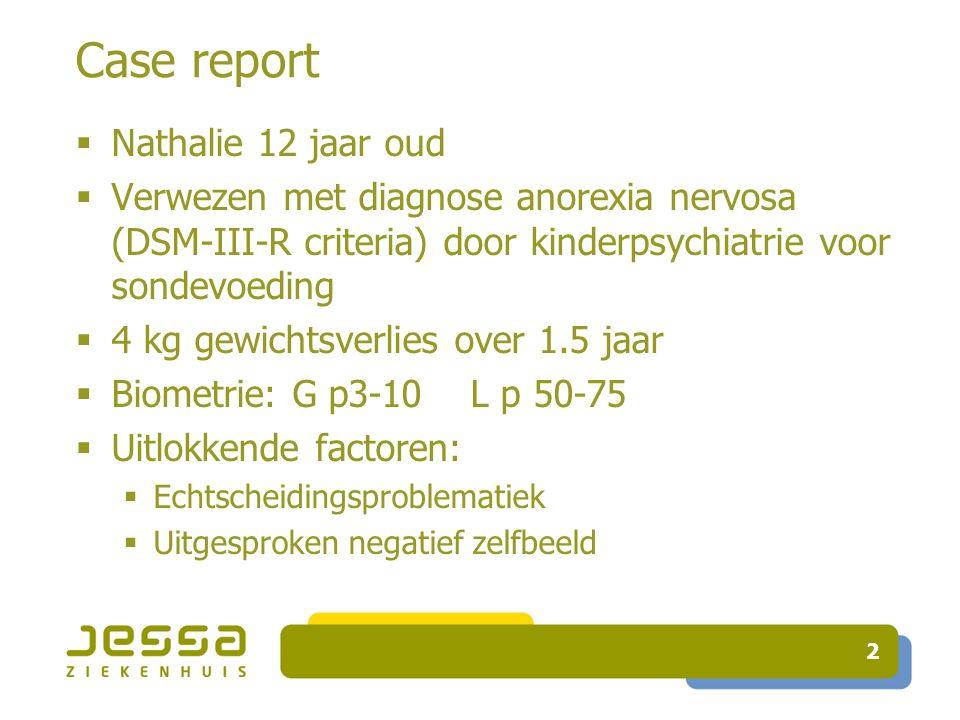 Case report  Nathalie 12 jaar oud  Verwezen met diagnose anorexia nervosa (DSM-III-R criteria) door kinderpsychiatrie voor sondevoeding  4 kg gewichtsverlies over 1.5 jaar  Biometrie: G p3-10 L p 50-75  Uitlokkende factoren:  Echtscheidingsproblematiek  Uitgesproken negatief zelfbeeld 2