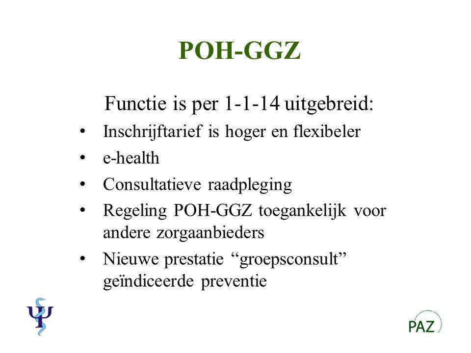 Groepsconsult geïndiceerde preventie Vb: SOLK, chronische pijn Tarief: €9 per deelnemer