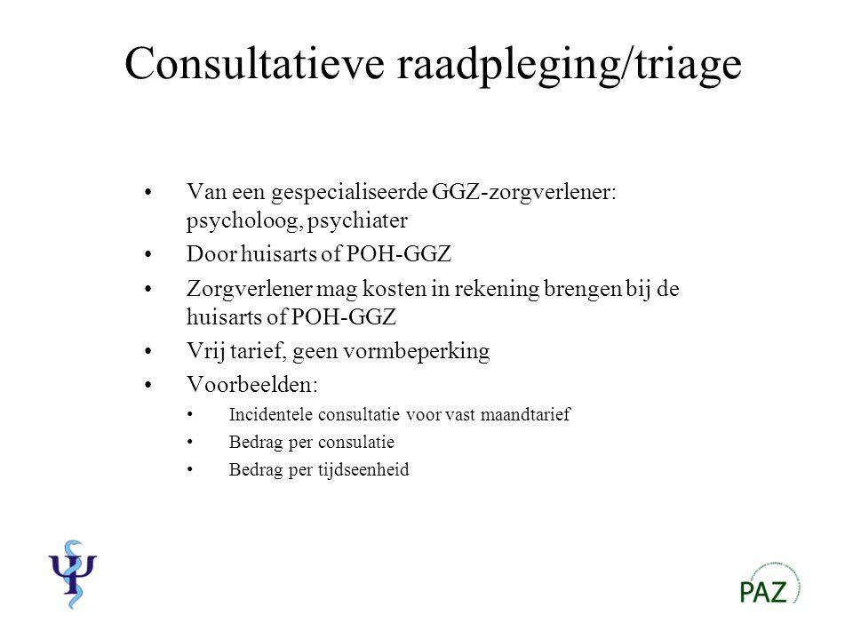Overige activiteiten Psycho-educatie Intervisie-begeleiding Supervisie …….in overleg met de huisarts