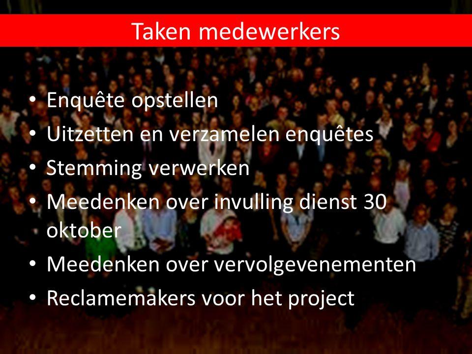 Taken medewerkers Enquête opstellen Uitzetten en verzamelen enquêtes Stemming verwerken Meedenken over invulling dienst 30 oktober Meedenken over verv