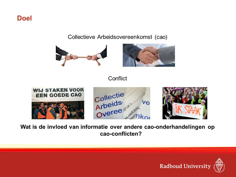 Doel Collectieve Arbeidsovereenkomst (cao) Conflict Wat is de invloed van informatie over andere cao-onderhandelingen op cao-conflicten