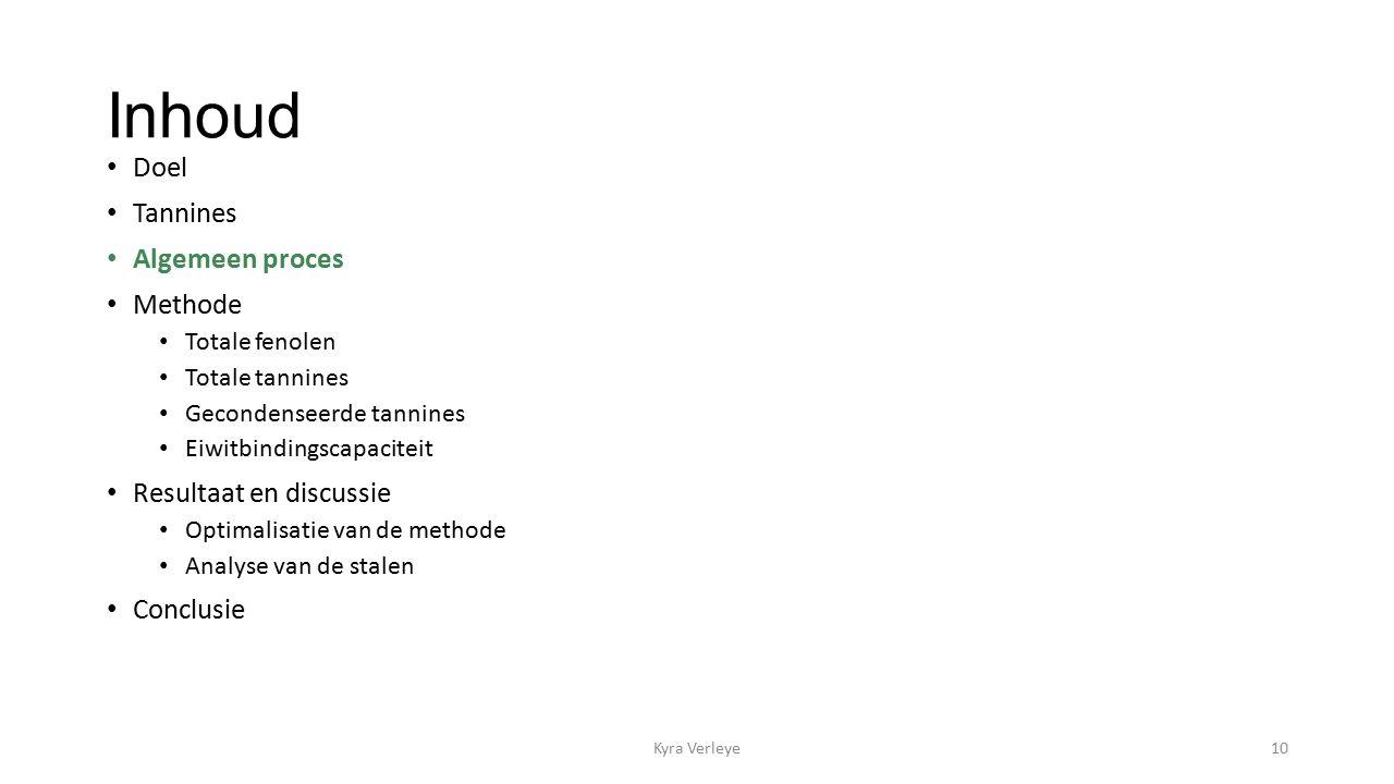 Inhoud Doel Tannines Algemeen proces Methode Totale fenolen Totale tannines Gecondenseerde tannines Eiwitbindingscapaciteit Resultaat en discussie Optimalisatie van de methode Analyse van de stalen Conclusie Kyra Verleye10