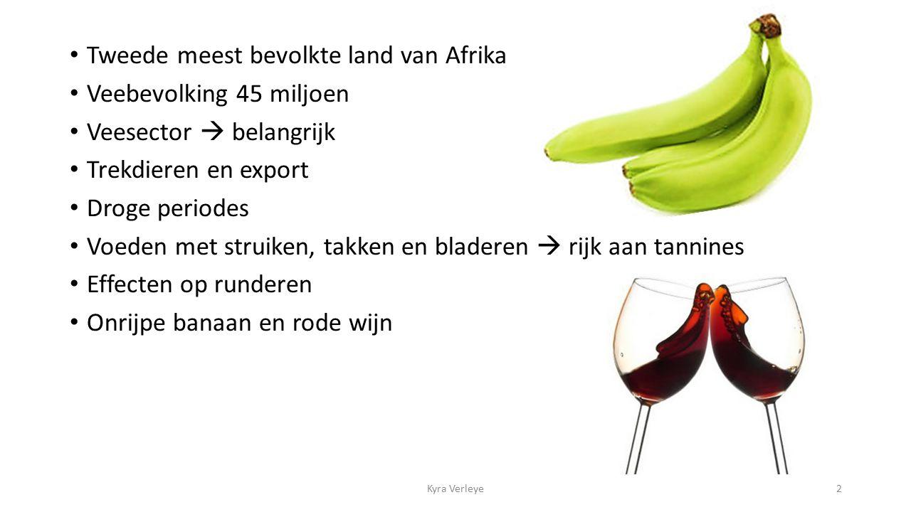 Tweede meest bevolkte land van Afrika Veebevolking 45 miljoen Veesector  belangrijk Trekdieren en export Droge periodes Voeden met struiken, takken en bladeren  rijk aan tannines Effecten op runderen Onrijpe banaan en rode wijn Kyra Verleye2