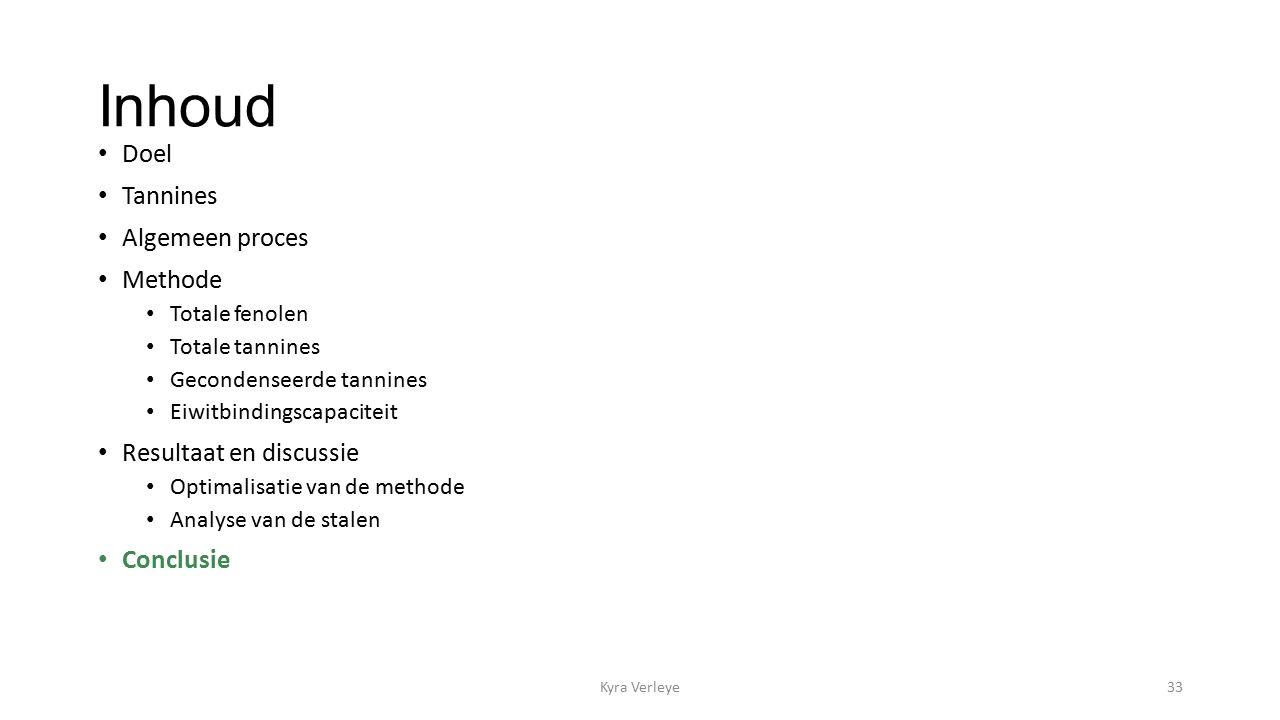 Inhoud Doel Tannines Algemeen proces Methode Totale fenolen Totale tannines Gecondenseerde tannines Eiwitbindingscapaciteit Resultaat en discussie Optimalisatie van de methode Analyse van de stalen Conclusie Kyra Verleye33