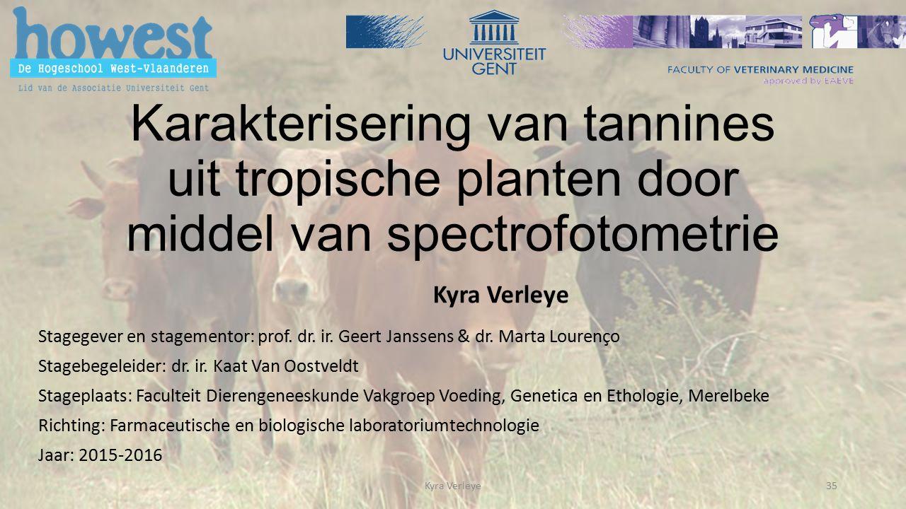 Karakterisering van tannines uit tropische planten door middel van spectrofotometrie Stagegever en stagementor: prof.