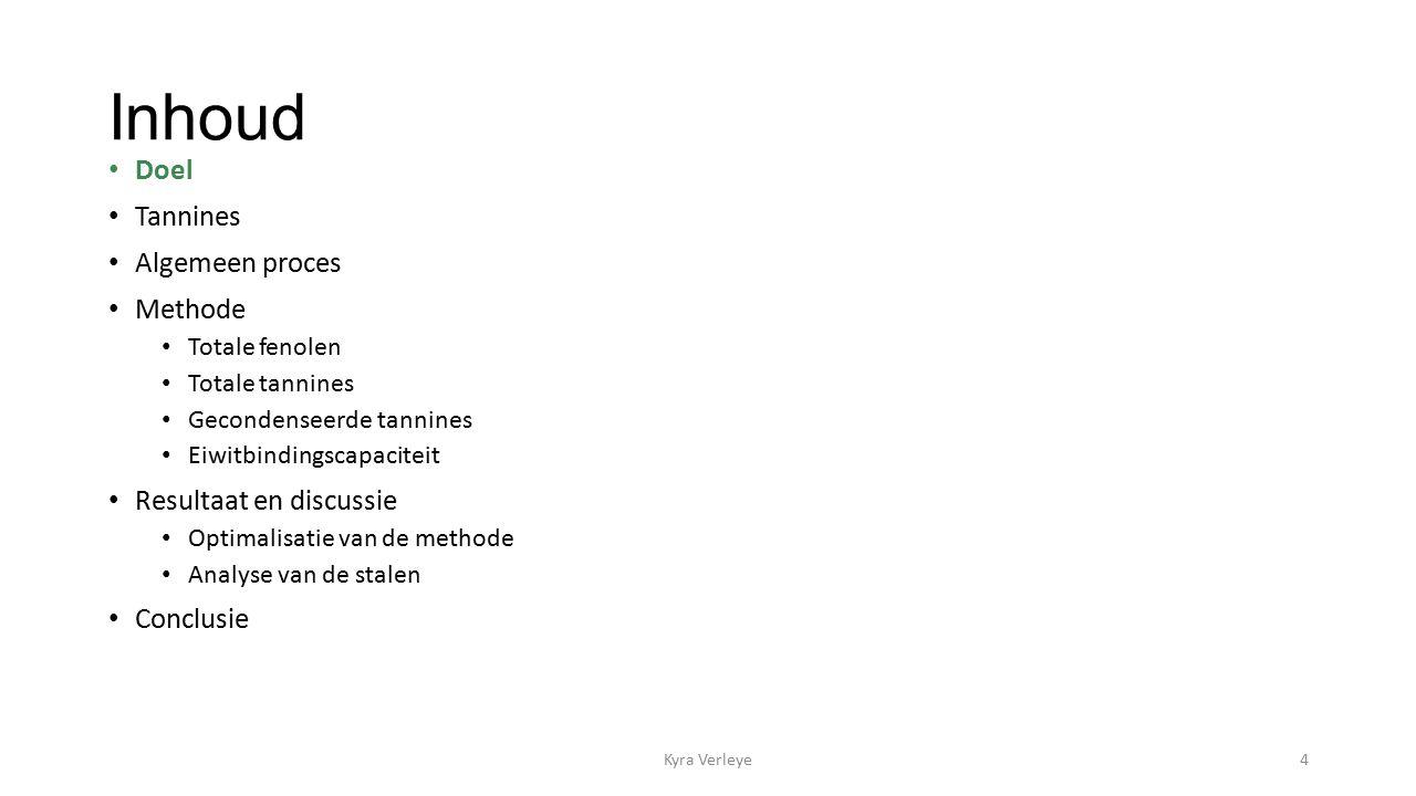 Inhoud Doel Tannines Algemeen proces Methode Totale fenolen Totale tannines Gecondenseerde tannines Eiwitbindingscapaciteit Resultaat en discussie Optimalisatie van de methode Analyse van de stalen Conclusie Kyra Verleye4