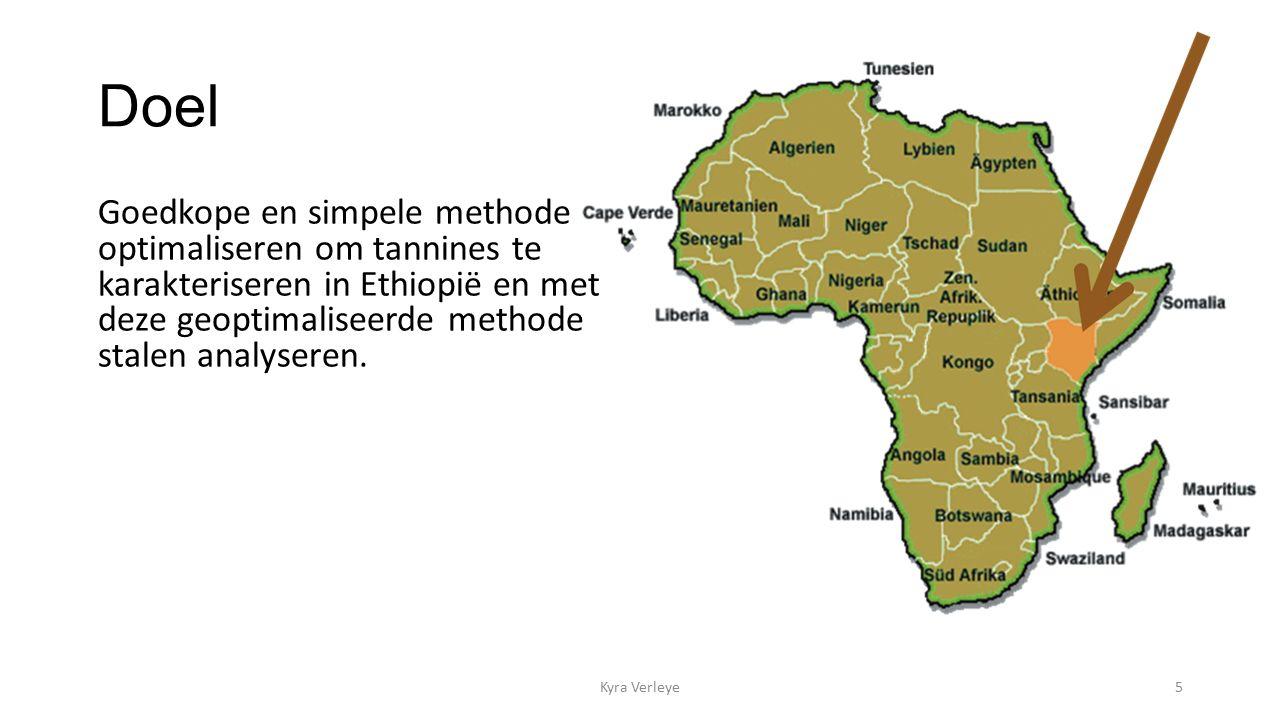 Doel Goedkope en simpele methode optimaliseren om tannines te karakteriseren in Ethiopië en met deze geoptimaliseerde methode stalen analyseren.