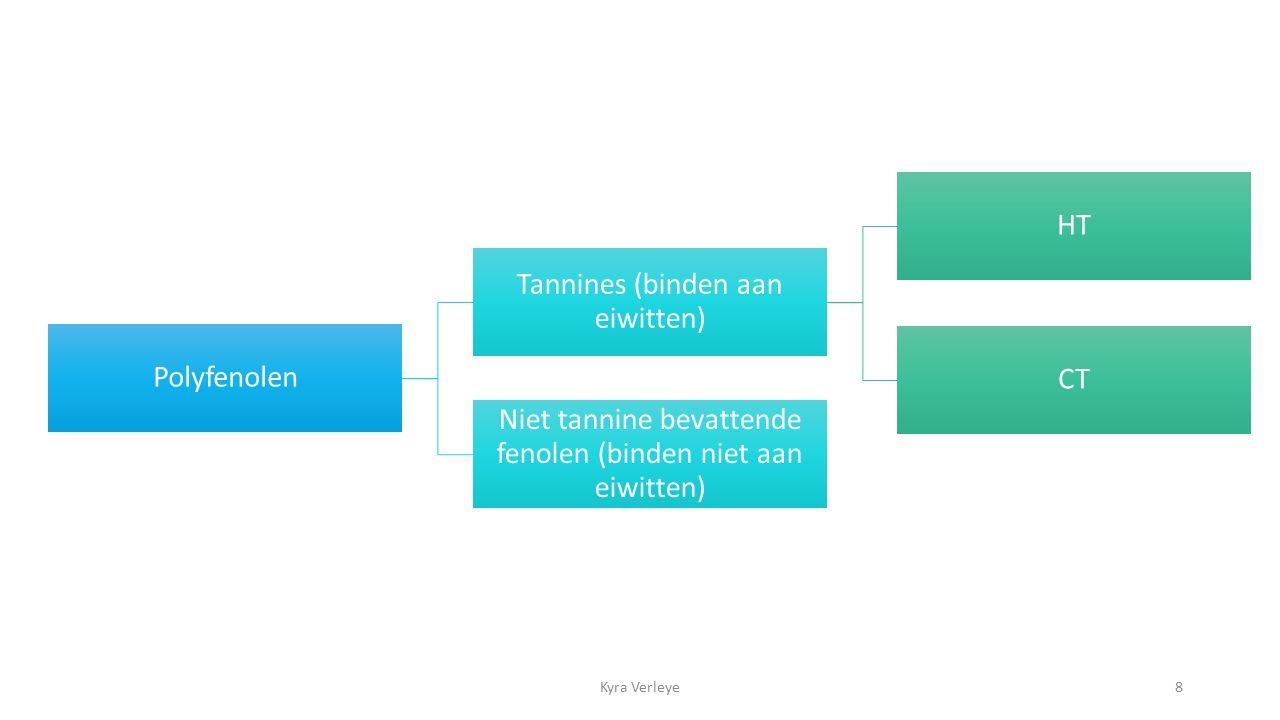 8 Polyfenolen Tannines (binden aan eiwitten) HT CT Niet tannine bevattende fenolen (binden niet aan eiwitten)