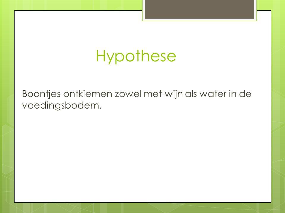 Hypothese Boontjes ontkiemen zowel met wijn als water in de voedingsbodem.