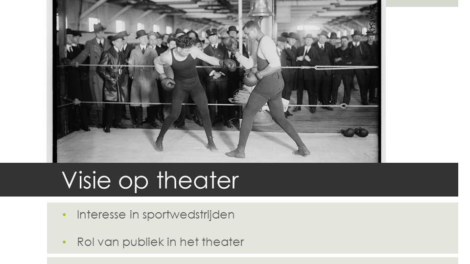 Visie op theater Interesse in sportwedstrijden Rol van publiek in het theater