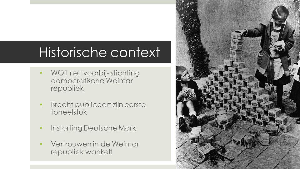 Historische context WO1 net voorbij- stichting democratische Weimar republiek Brecht publiceert zijn eerste toneelstuk Instorting Deutsche Mark Vertro
