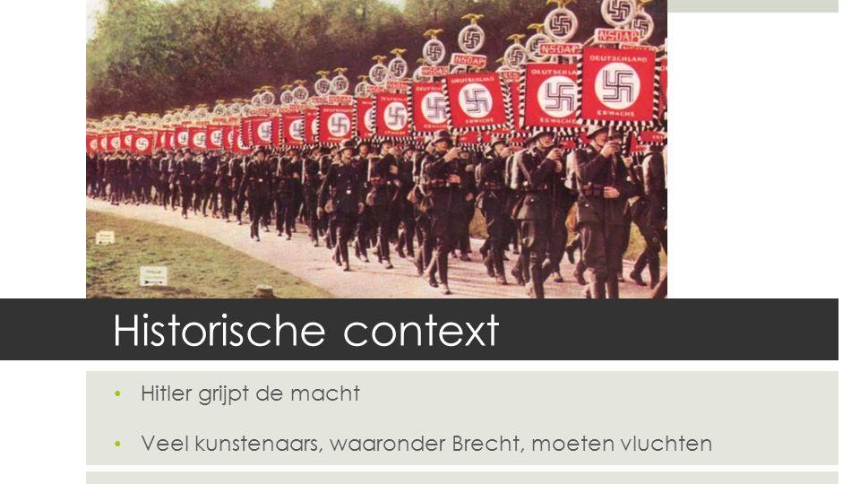 Historische context Hitler grijpt de macht Veel kunstenaars, waaronder Brecht, moeten vluchten