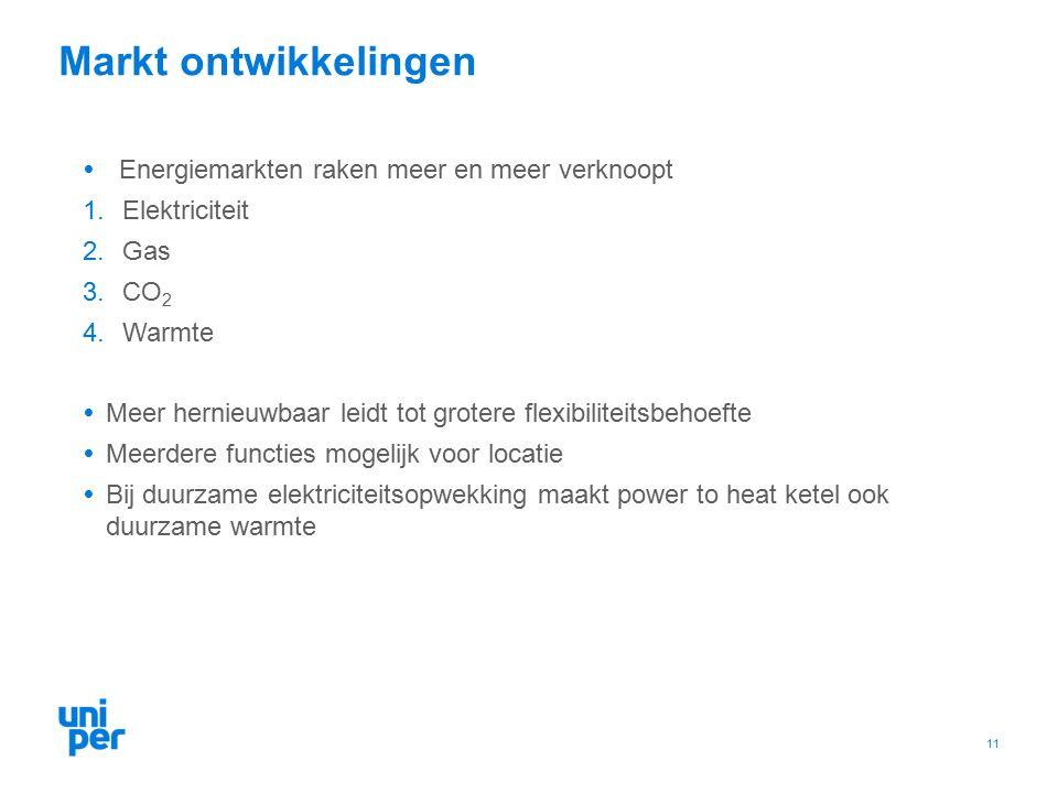 Markt ontwikkelingen  Energiemarkten raken meer en meer verknoopt 1.Elektriciteit 2.Gas 3.CO 2 4.Warmte  Meer hernieuwbaar leidt tot grotere flexibiliteitsbehoefte  Meerdere functies mogelijk voor locatie  Bij duurzame elektriciteitsopwekking maakt power to heat ketel ook duurzame warmte 11