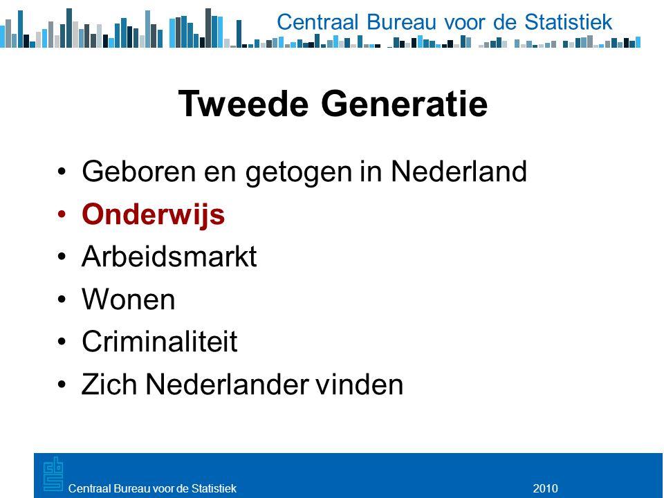 Utrecht, 20 februari 2009 2010Centraal Bureau voor de Statistiek Tweede Generatie Geboren en getogen in Nederland Onderwijs Arbeidsmarkt Wonen Criminaliteit Zich Nederlander vinden