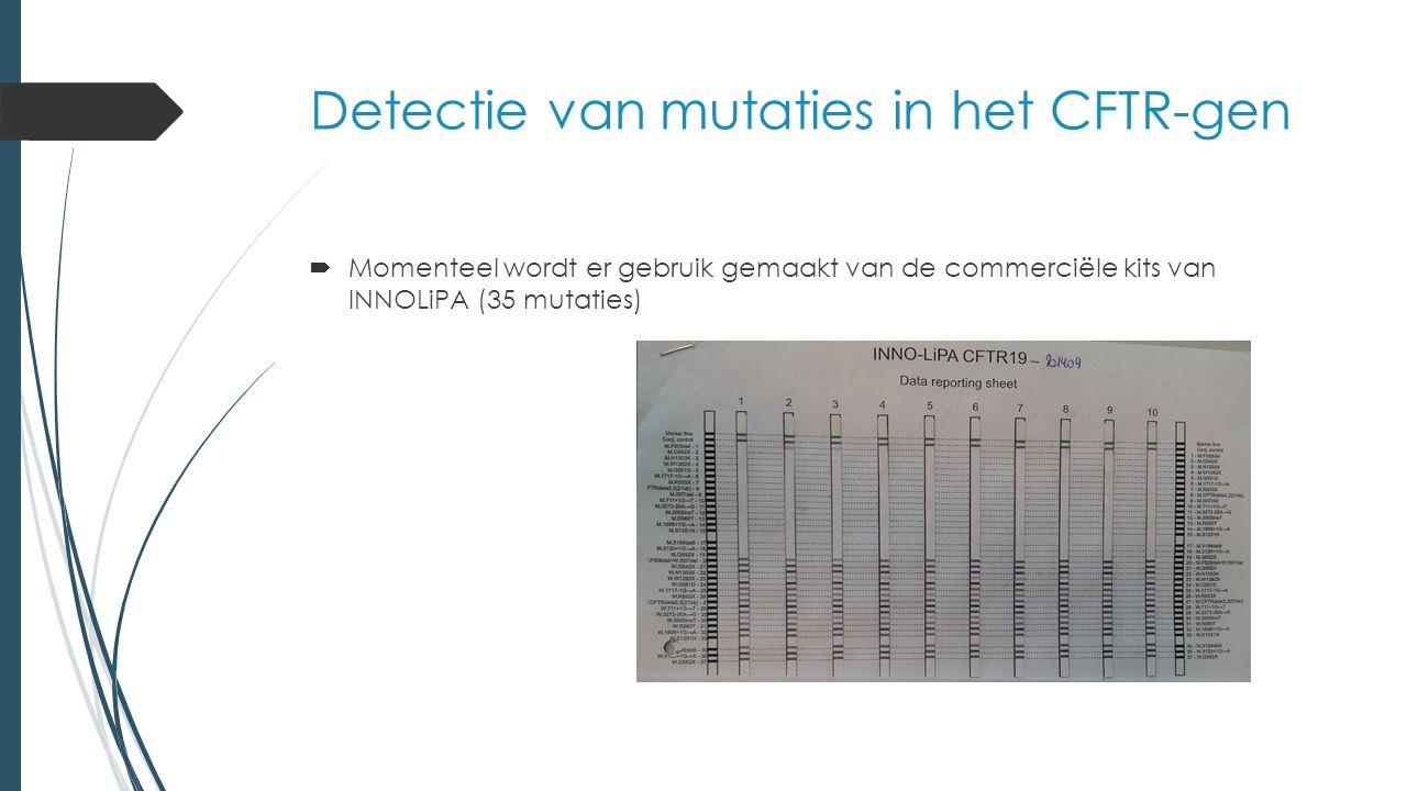 Detectie van mutaties in het CFTR-gen  Momenteel wordt er gebruik gemaakt van de commerciële kits van INNOLiPA (35 mutaties)