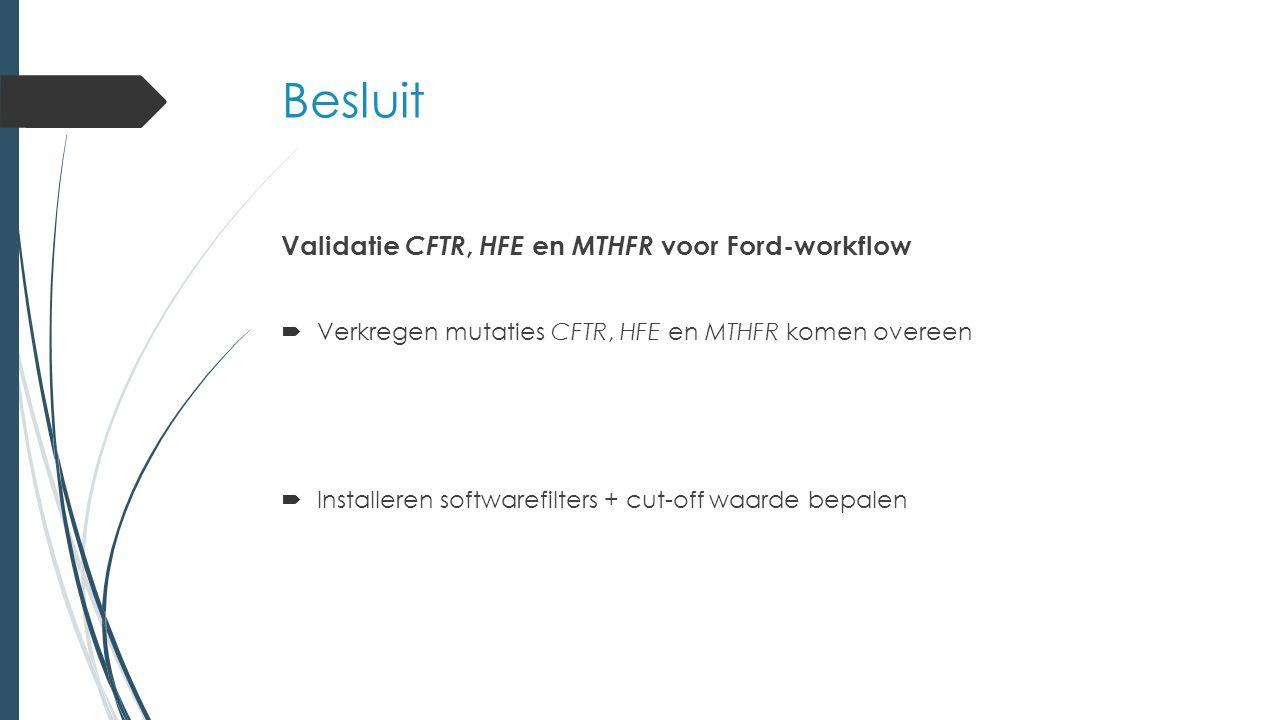 Besluit Validatie CFTR, HFE en MTHFR voor Ford-workflow  Verkregen mutaties CFTR, HFE en MTHFR komen overeen  Installeren softwarefilters + cut-off waarde bepalen
