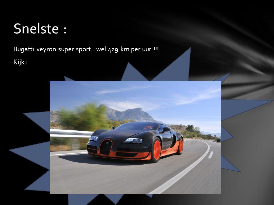 Bugatti veyron super sport : wel 429 km per uur !!! Kijk : Snelste :